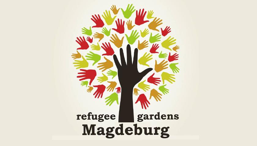 Logo refugee gardens Magdeburg, Baum aus Händen