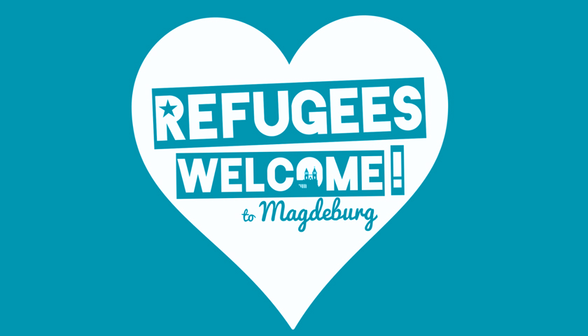 """Herz mit """"Refugees Welcome to Magdeburg"""""""
